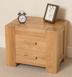 Kuba Oak Bedside Table with 2 drawers - Bedroom Furniture