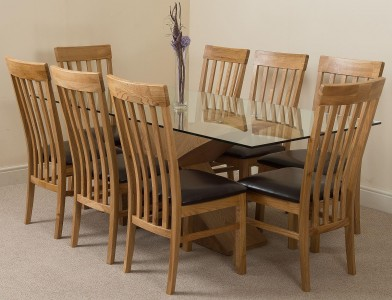 size 40 224d1 0c60e Valencia Oak 200cm Wood and Glass Dining Table with 8 ...