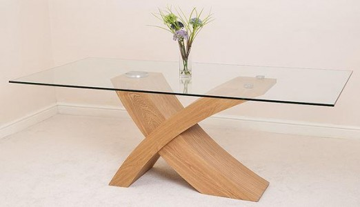 Valencia Oak 200cm Wood and Glass Dining Table - Top Angle