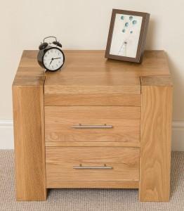 kuba oak bedside table front view - Bedroom Furniture