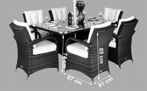 Arizona Rattan Garden Furniture [6 Seat Dining Set with Rectangular Table] Dimensions