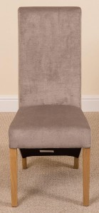 Full Length Lola Curved Back Dining Chair [Grey Fabric]