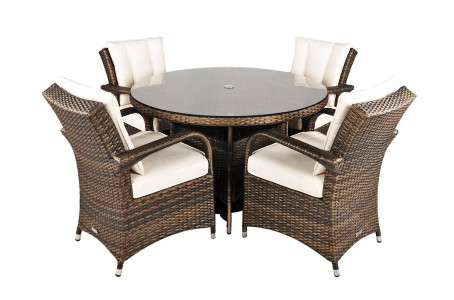 Side of Arizona Rattan Garden Furniture [4 Seat Dining Set with Round Table]