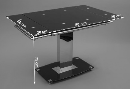 Enzo 80-120cm Extending Glass Dining Table - Dimensions