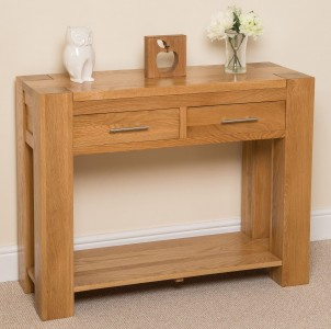 Kuba Solid Oak Console Table - Left Side