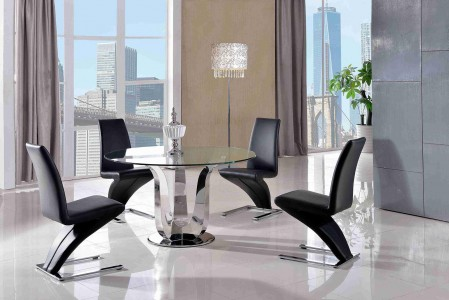 Naples Glass and Polished Steel Dining Table with 4 Zed Designer Dining Chairs [Black]