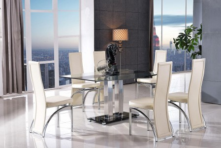 Roma Black Glass Dining Table with 6 Alisa Dining Chair [Ivory]