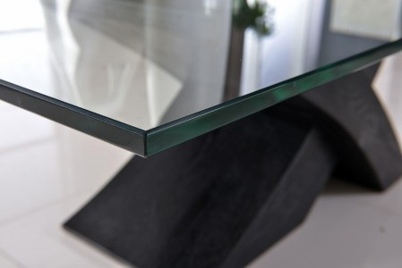 Top of Valencia Black 160cm Wood and Glass Dining Table