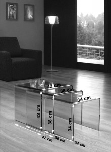 Milan Glass Nest of Tables [Clear Glass] Dimensions