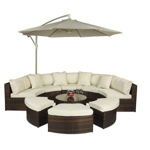 Monaco Rattan Garden Furniture [Semi Circle Sofa Set] Parasol
