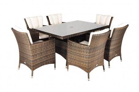 Savannah Rattan Garden Furniture [6 Seat Dining Set with Rectangular Table] No Parasol