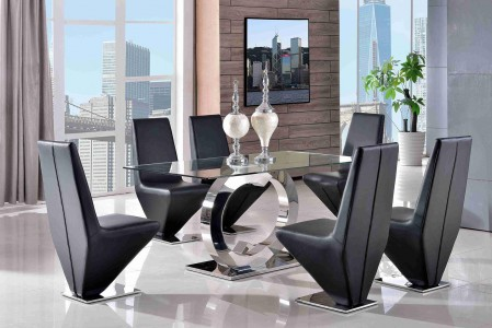 Front of Channel Glass and Polished Steel Dining Table with 6 Rita Designer Dining Chairs [Black]