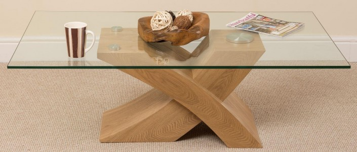 Milano Coffee Table [Glass and Solid Oak] 3