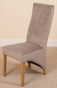 Right Side of Lola Curved Back Dining Chair [Grey Fabric]
