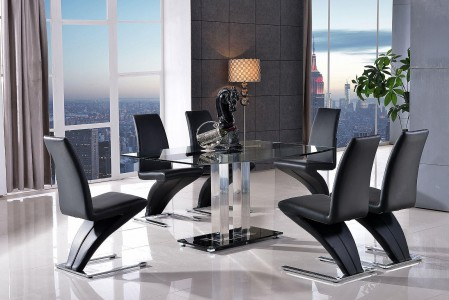 Roma Black Glass Dining Table with 4 Zed Designer Dining Chairs [Black]