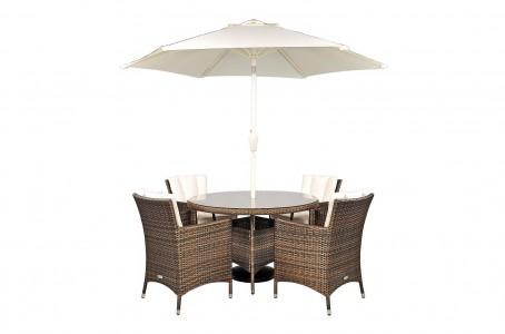 Savannah Rattan Garden Furniture [4 Seat Dining Set Plus Back Cushion]