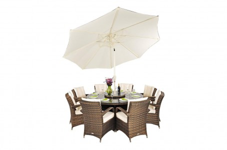 Arizona Rattan Garden Furniture [8 Seat Dining Set with Round Table] With Umbrella