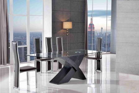 Valencia Black 160cm Wood and Glass Dining Table with 4 Elsa Designer Dining Chairs [Black]