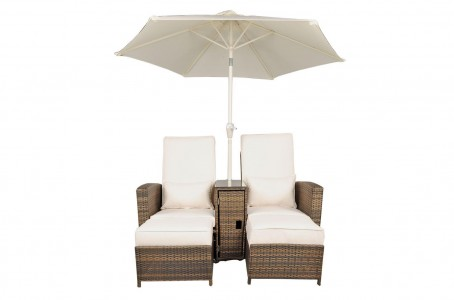 Nevada Rattan Garden Furniture [2 Seat Lounger Set]