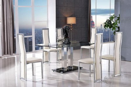 Roma Black Glass Dining Table with 6 Elsa Designer Dining Chairs [Ivory]