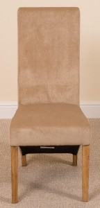 Front of Lola Curved Back Dining Chair [Beige Fabric]