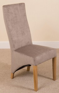 Front of Lola Curved Back Dining Chair [Grey Fabric] Background