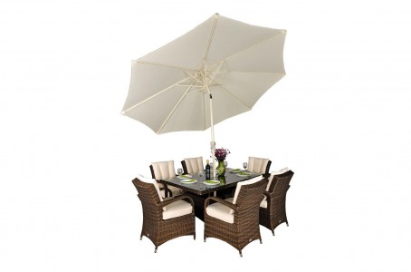 Side of Arizona Rattan Garden Furniture [6 Seat Dining Set with Rectangular Table]