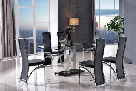 Roma Black Glass Dining Table with 6 Alisa Dining Chair [Black]