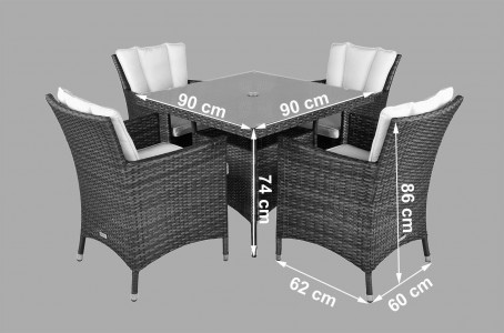 Savannah Rattan Garden Furniture [4 Seat Dining Set with Square Table] Dimensions