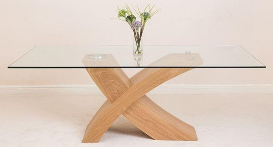 Valencia Oak 200cm Wood and Glass Dining Table - Side On