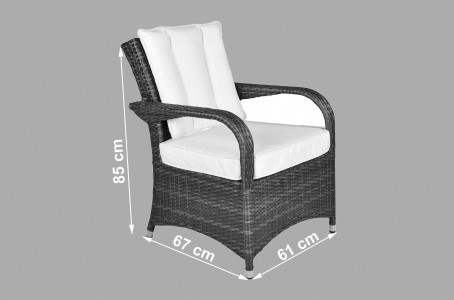 Arizona Rattan 4 Seat Dining Set [Seat Dimensions]
