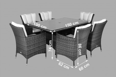Savannah Rattan Garden Furniture [6 Seat Dining Set with Rectangular Table] Dimensions