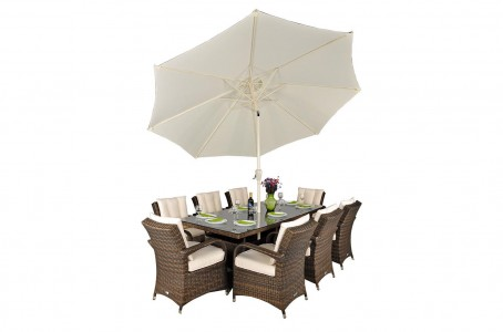 Side of Arizona Rattan Garden Furniture [8 Seat Dining Set with Rectangular Table]