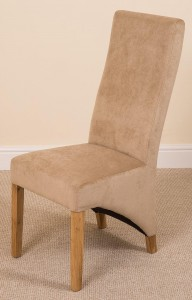 Right Side of Lola Curved Back Dining Chair [Beige Fabric]