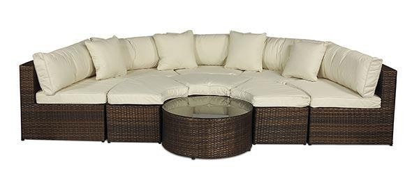 Monaco Rattan Garden Furniture [Semi Circle Sofa Set] no parasol