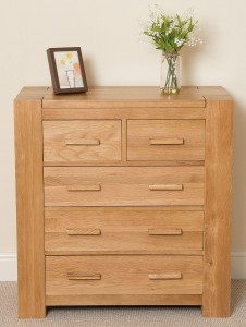 Kuba Solid Oak Chest of Drawers [2+3 drawer] - Front Facing