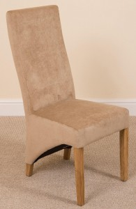 Left Side of Lola Curved Back Dining Chair [Beige Fabric]