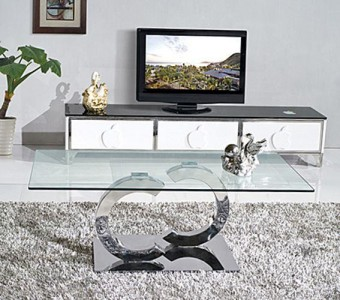 Front of Channel Designer Glass Coffee Table