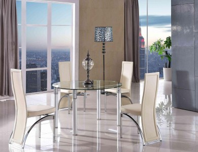 Torino Designer 74cm-120cm Extending Dining Table with 6 Alisa Dining Chair [Ivory]