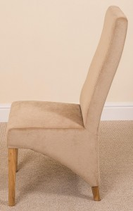 Side of Lola Curved Back Dining Chair [Beige Fabric]