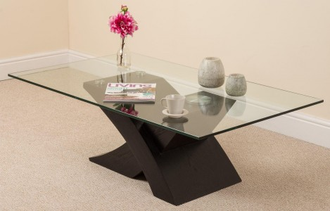 Miliano Glass and Wood Coffee Table [Black Wood] - Angle