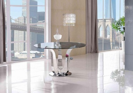 Naples Glass and Polished Steel Dining Table