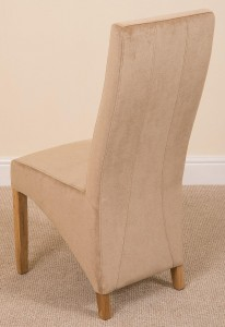 Back of Lola Curved Back Dining Chair [Beige Fabric]