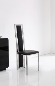 Front of Elsa Designer Dining Chairs [Black]