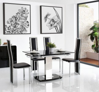 Front of Enzo 80-120cm Extending Glass Dining Table with 6 Elsa Designer Dining Chairs [Black]