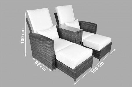 Nevada Rattan Garden Furniture [2 Seat Lounger Set] Dimensions
