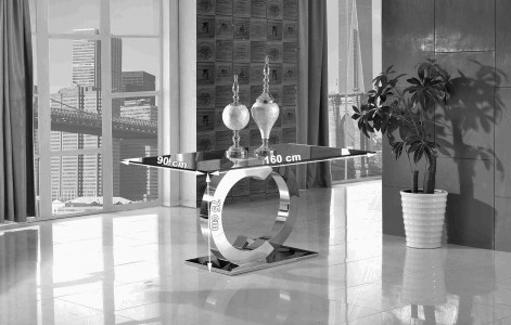 Channel Glass and Polished Steel Dining Table DImensions
