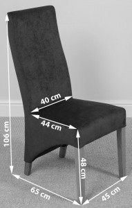 Lola Curved Back Dining Chair [Grey Fabric] Dimensions