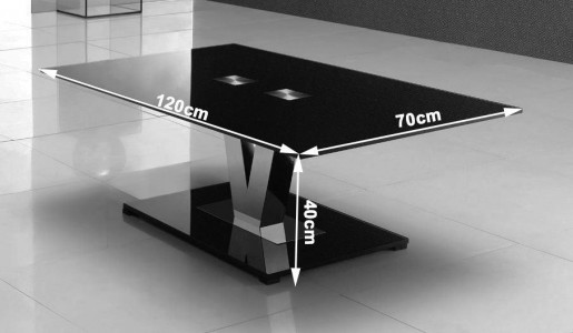 Vidal Designer Glass Coffee Table - Dimensions
