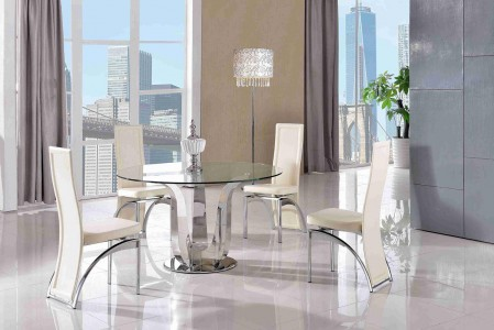 Naples Glass and Polished Steel Dining Table with 4 Alisa Dining Chair [Ivory]